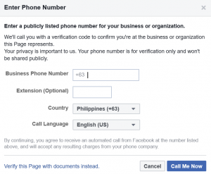 facebook phone verification process