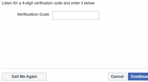 Facebook verify now screencap