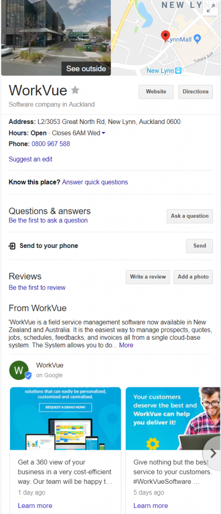 Google Knowledge Panel sample