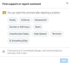 Report an FB comment